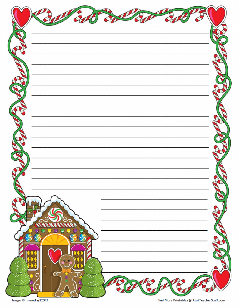 Gingerbread Printable Border Paper With And Without Lines | A To Z - Free Printable Thanksgiving Writing Paper