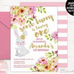 Girl Birthday Invitation Template. Printable Bunny Birthday   21St Birthday Invitation Templates Free Printable