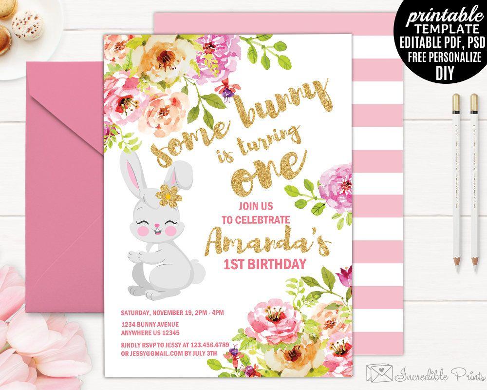 Girl Birthday Invitation Template. Printable Bunny Birthday - 21St Birthday Invitation Templates Free Printable