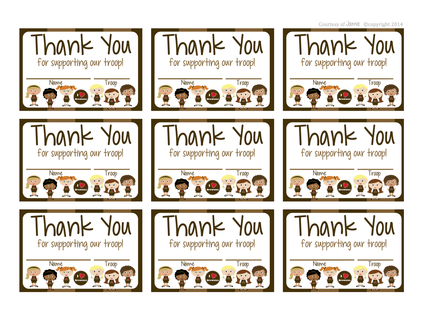 Girl Scouts: Brownies Free Printable Thank You Cards | Girl Scouts - Free Printable Eagle Scout Thank You Cards