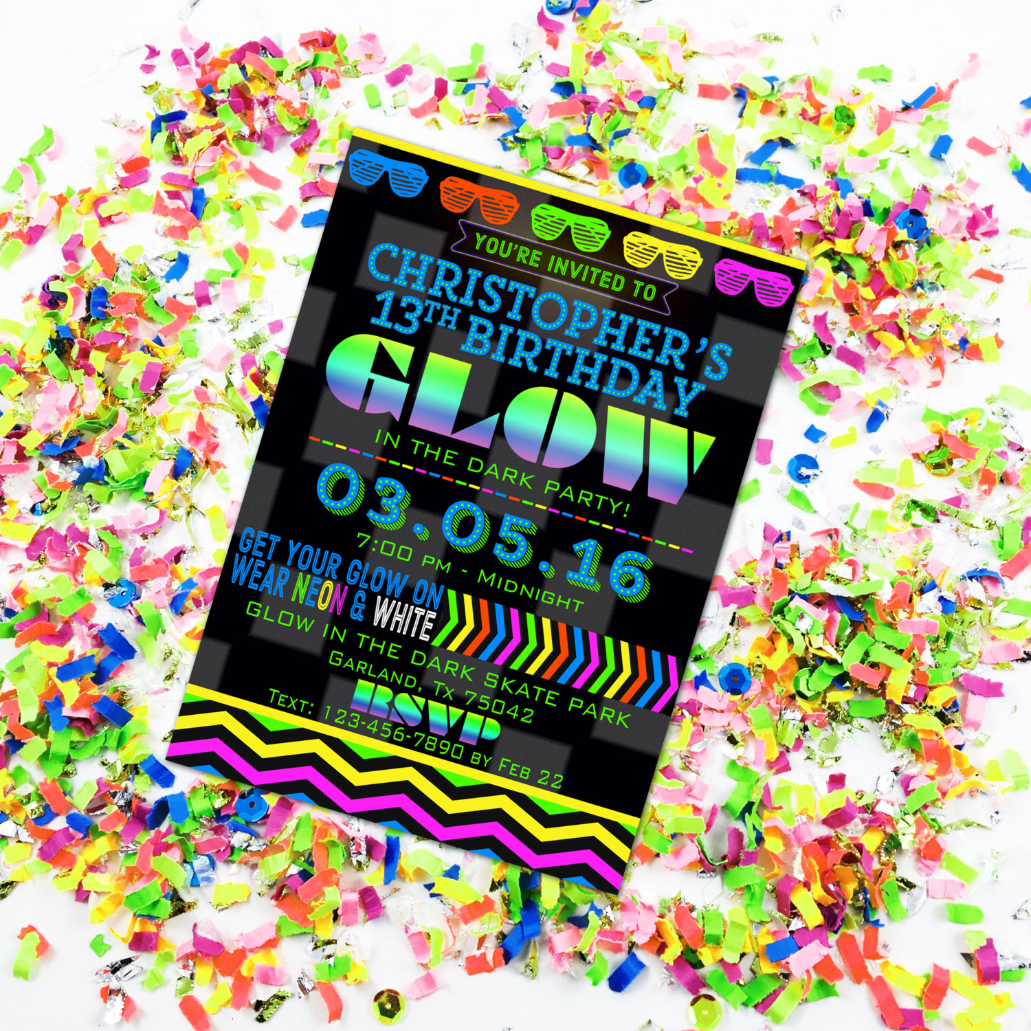 Glow In The Dark Party Invitation Glow Birthday Neon Party   Etsy - Free Printable Glow In The Dark Birthday Party Invitations