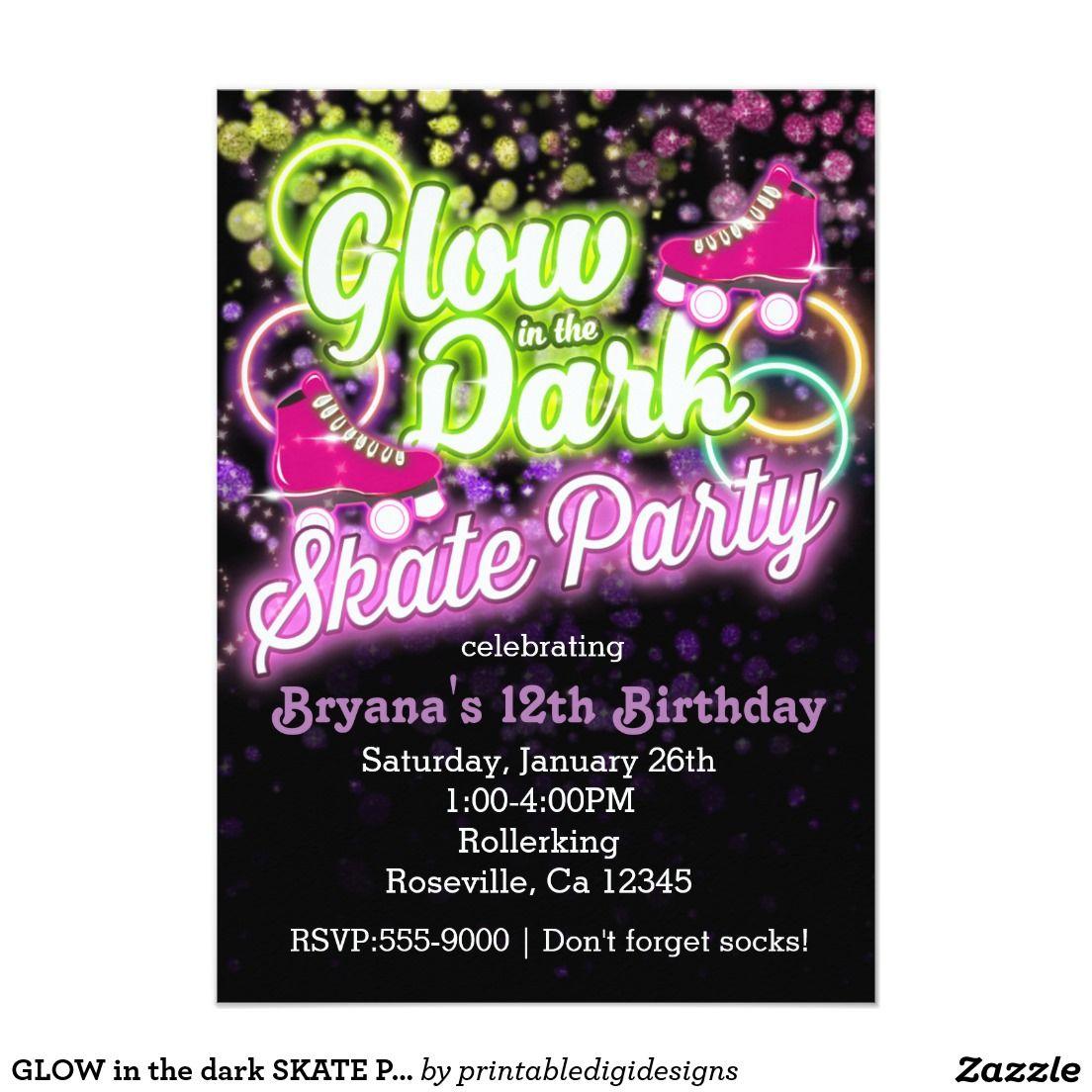 Glow In The Dark Skate Party Birthday Invitation   Party Invitations - Free Printable Glow In The Dark Birthday Party Invitations