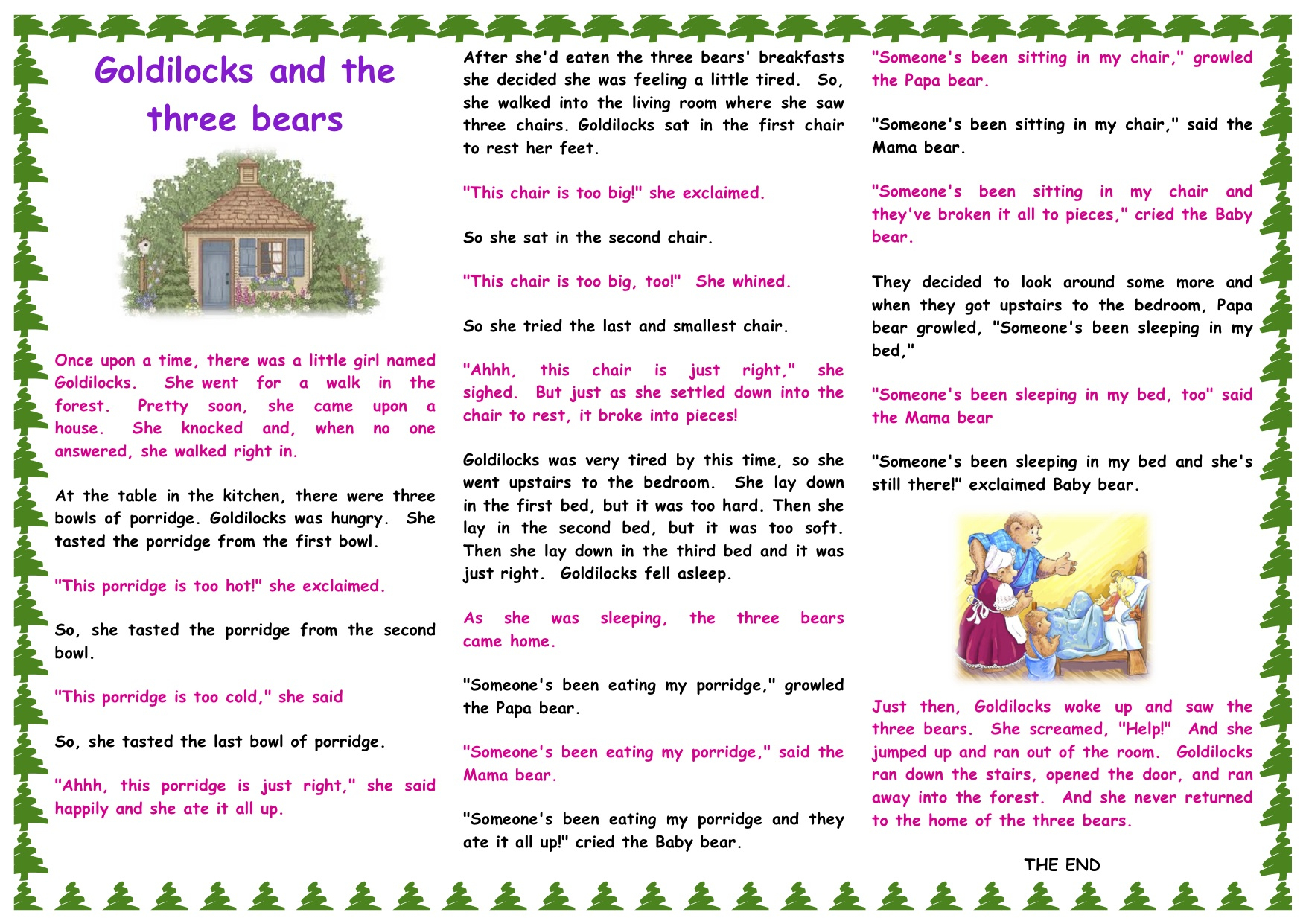 Goldilocks And The Three Bears Story Printable - Free Printable Goldilocks And The Three Bears Story