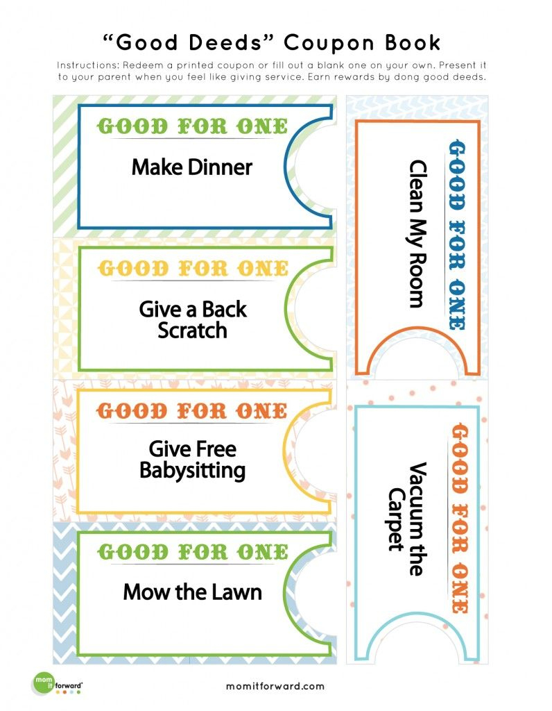 Good Deed Coupon Book Printables   Nothing But Printables - Free Printable Coupon Templates