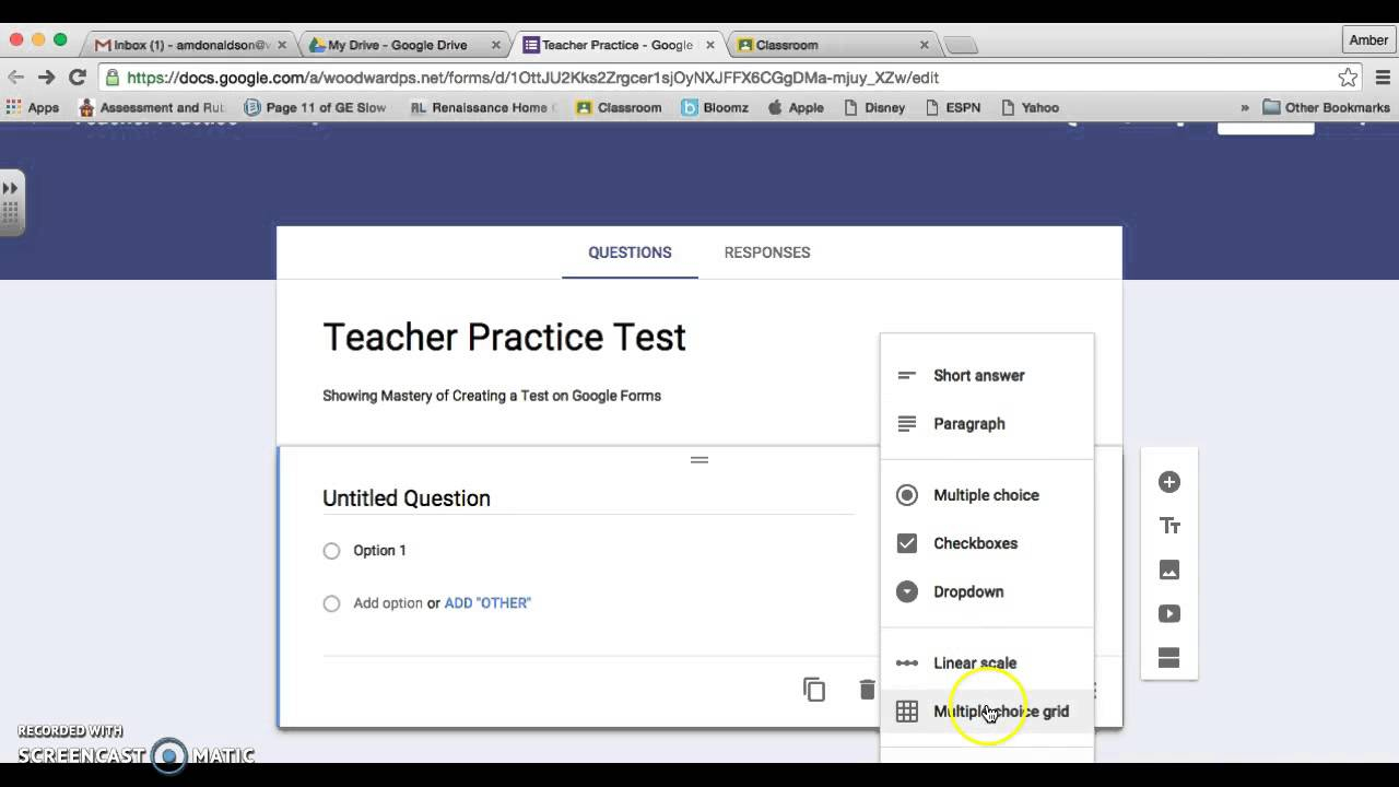 Google Classroom: Creating A Test - Youtube - Free Printable Multiple Choice Spelling Test Maker