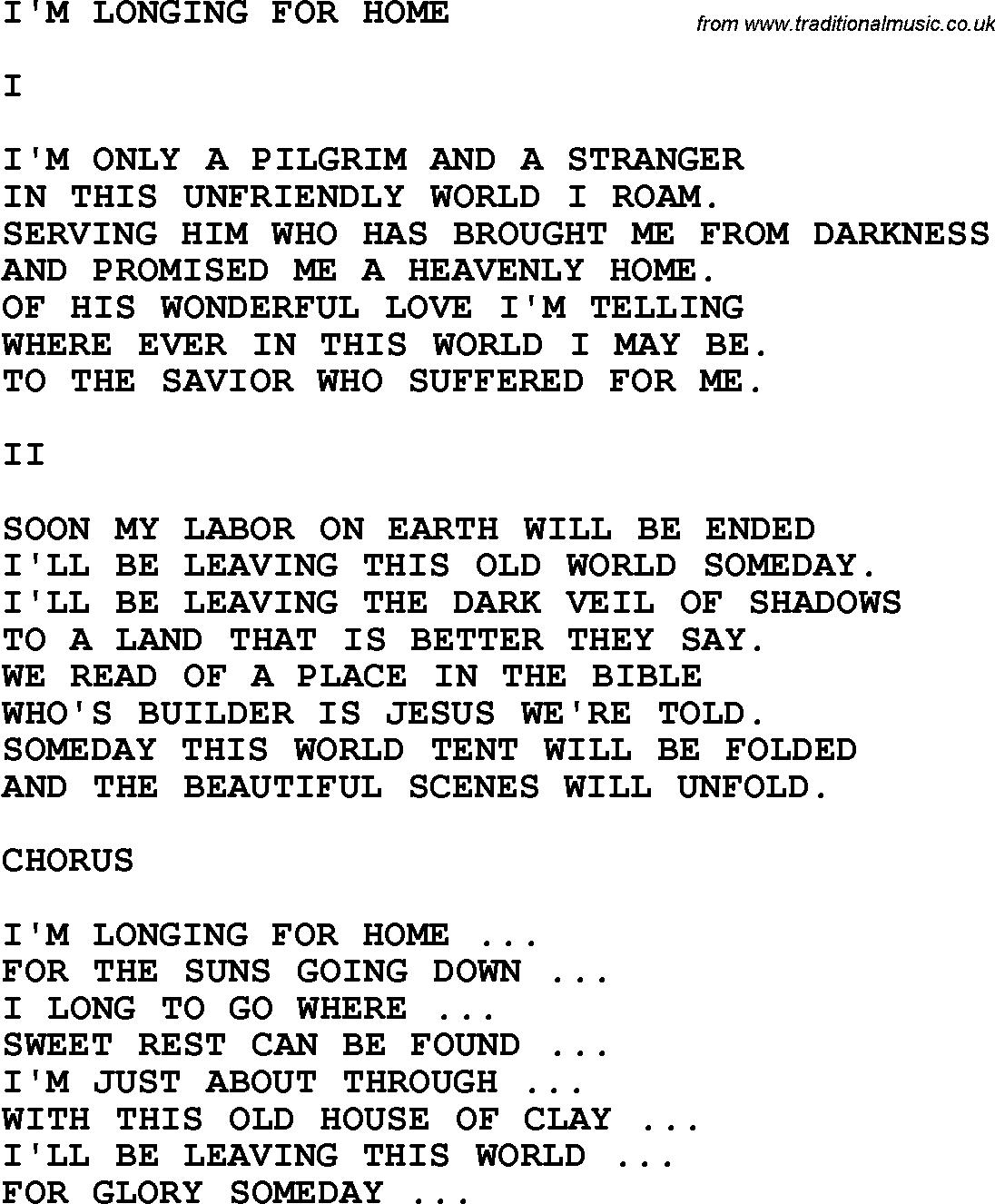 Gospel Song I'm Longing For Home Lyrics | Music Lyrics | Pinterest - Free Printable Gospel Music Lyrics