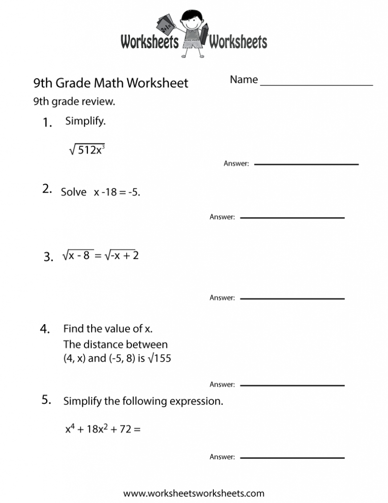Grade 9 Math Worksheets With Answers Free Sample Printable Pdf - Grade 9 Math Worksheets Printable Free With Answers