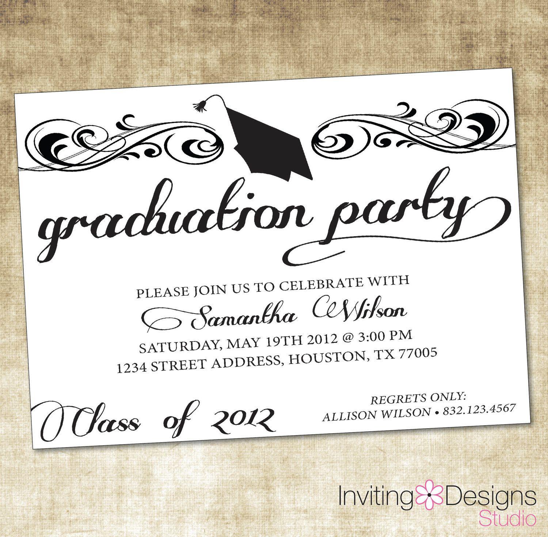 Graduate Invites, Glamorous Grad Party Invites To Design Party - Free Printable Graduation Party Invitations