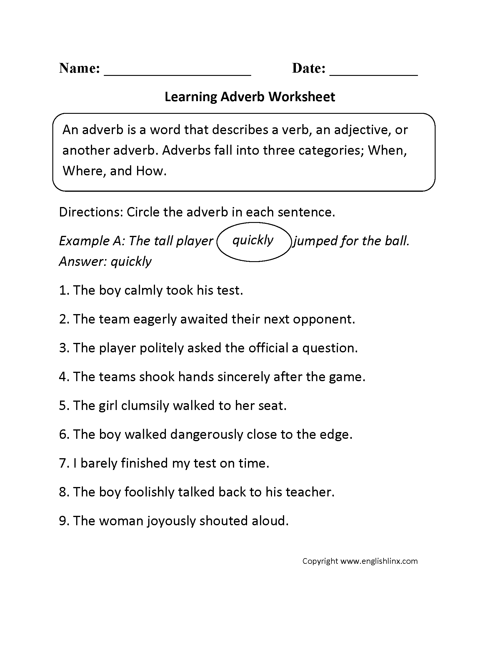 Grammar Worksheets | Parts Of Speech Worksheets - Free Printable Parts Of Speech Worksheets
