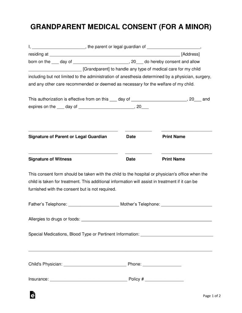 Grandparents' Medical Consent Form – Minor (Child) | Eforms – Free - Free Printable Caregiver Forms