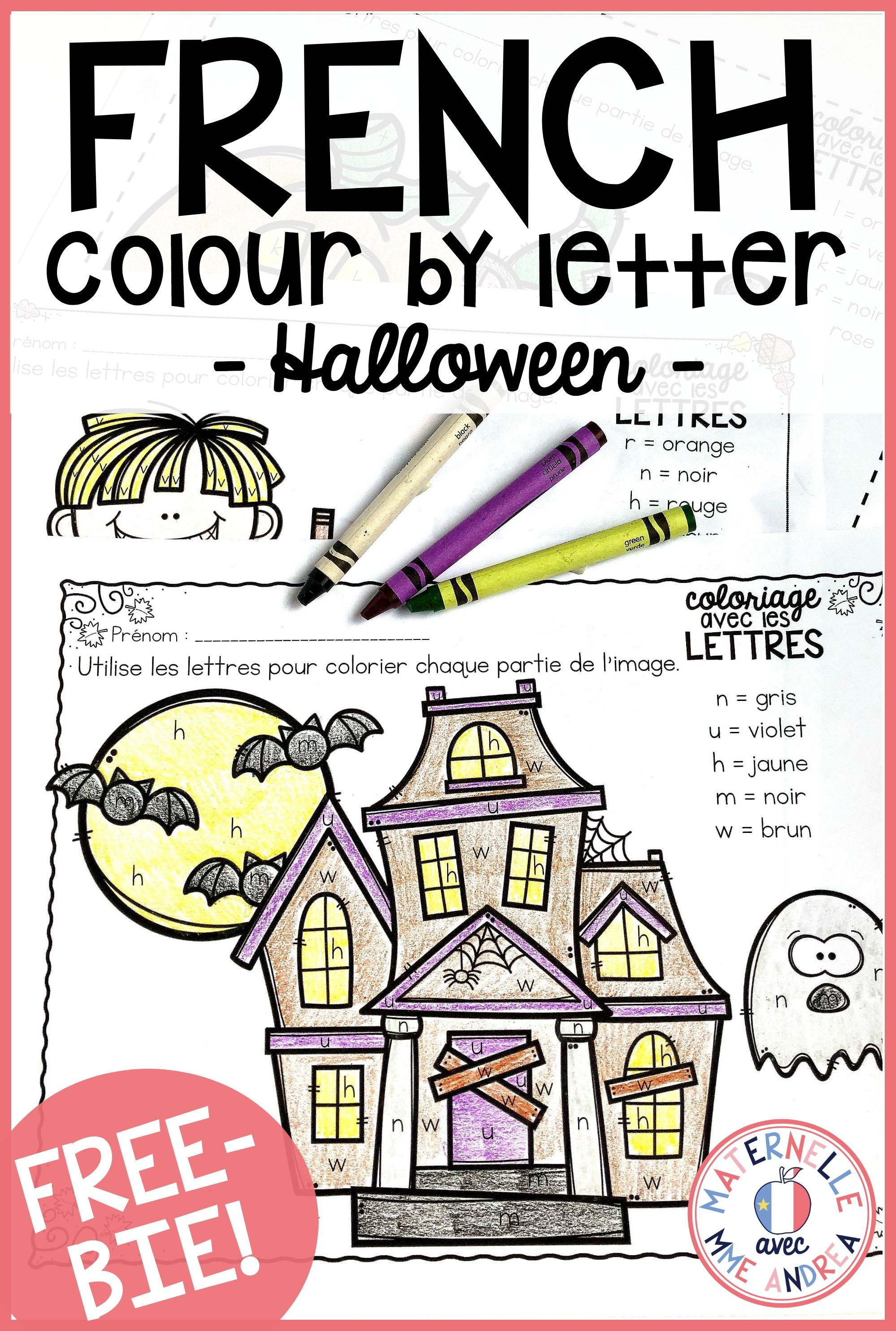 Gratuit! Free French Fall/halloween Colourletter Sheets   France - Free Printable French Halloween Worksheets