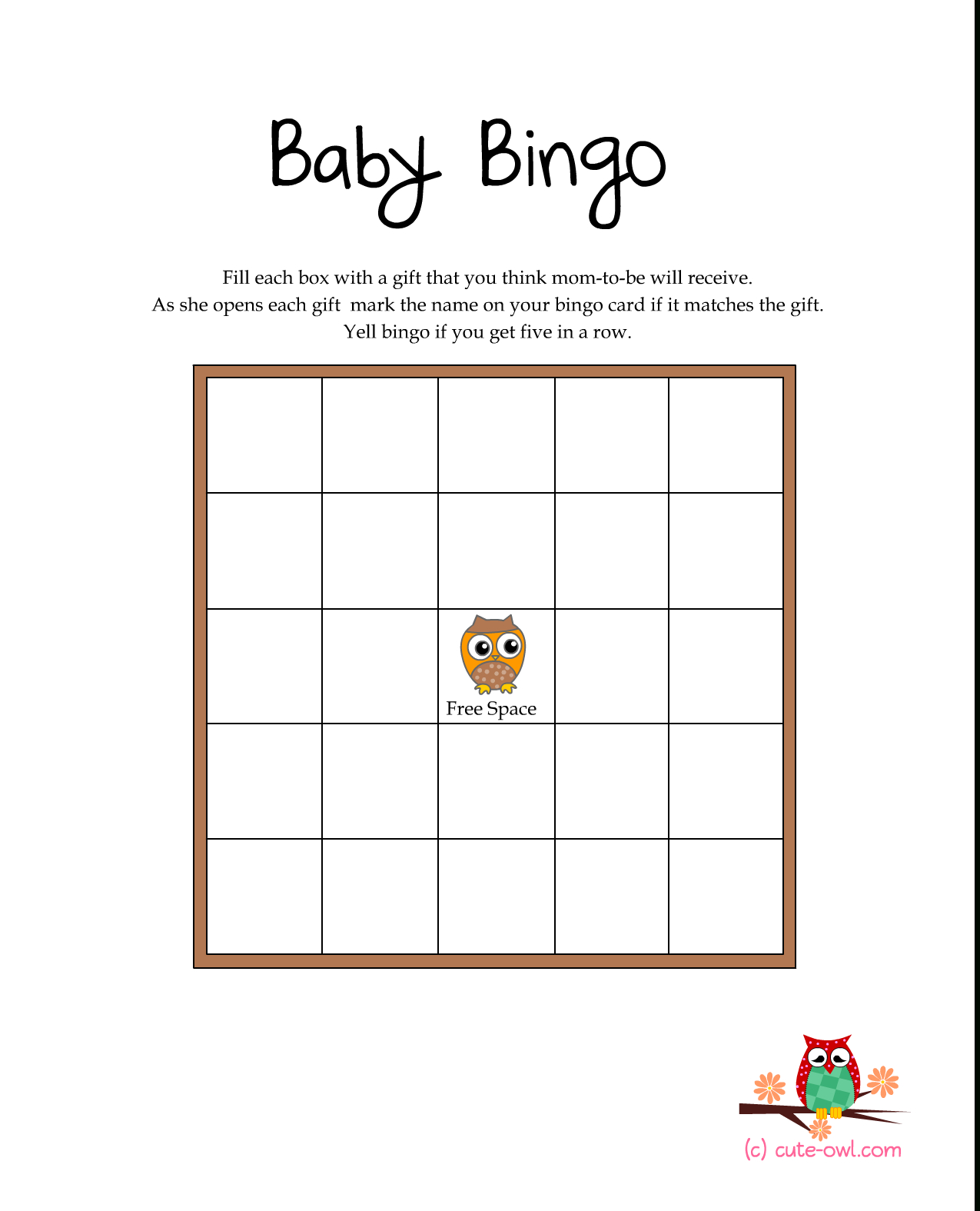 "Great For ""enchanted Forest"" Shower Theme -Free Printable Owl Baby - Free Printable Baby Shower Bingo"