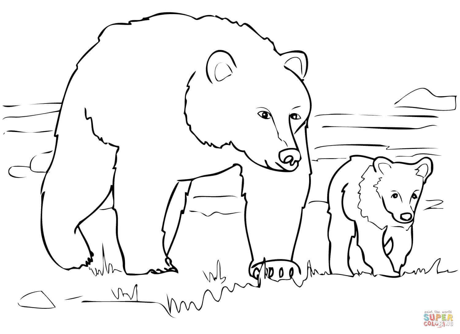 Grizzly Bear Family Coloring Page | Free Printable Coloring Pages - Polar Bear Printable Pictures Free