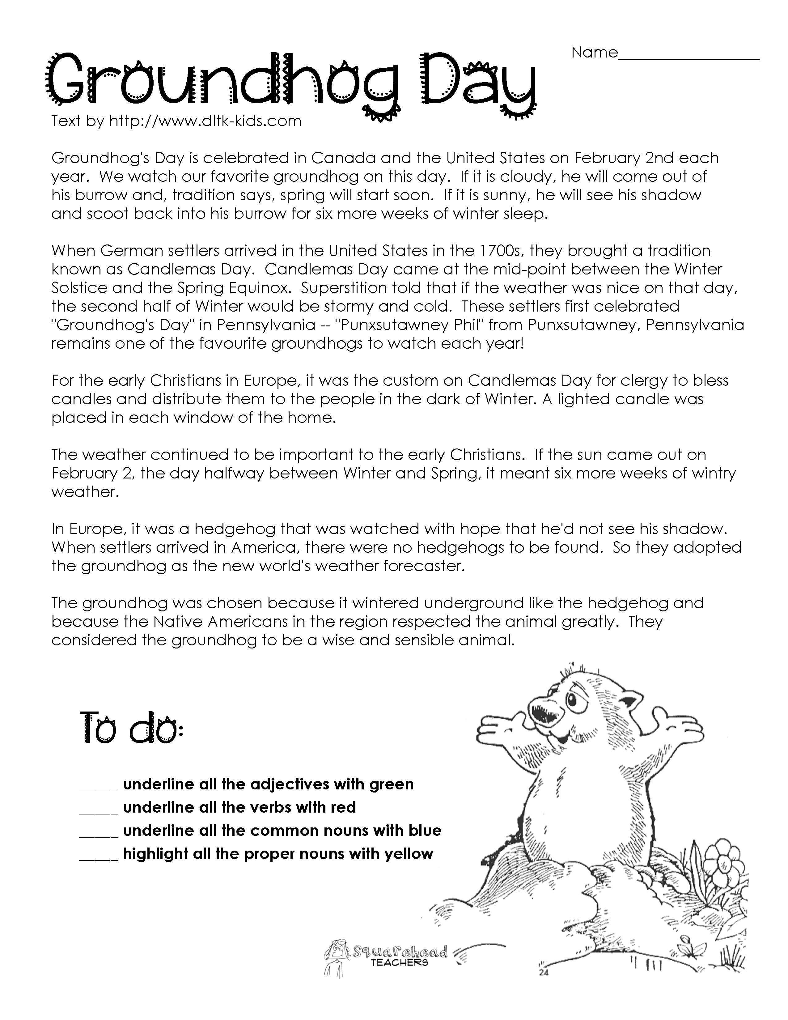 Groundhog Day Comprehension Worksheets - Google Search   Ground Hog - Free Printable Groundhog Day Reading Comprehension Worksheets