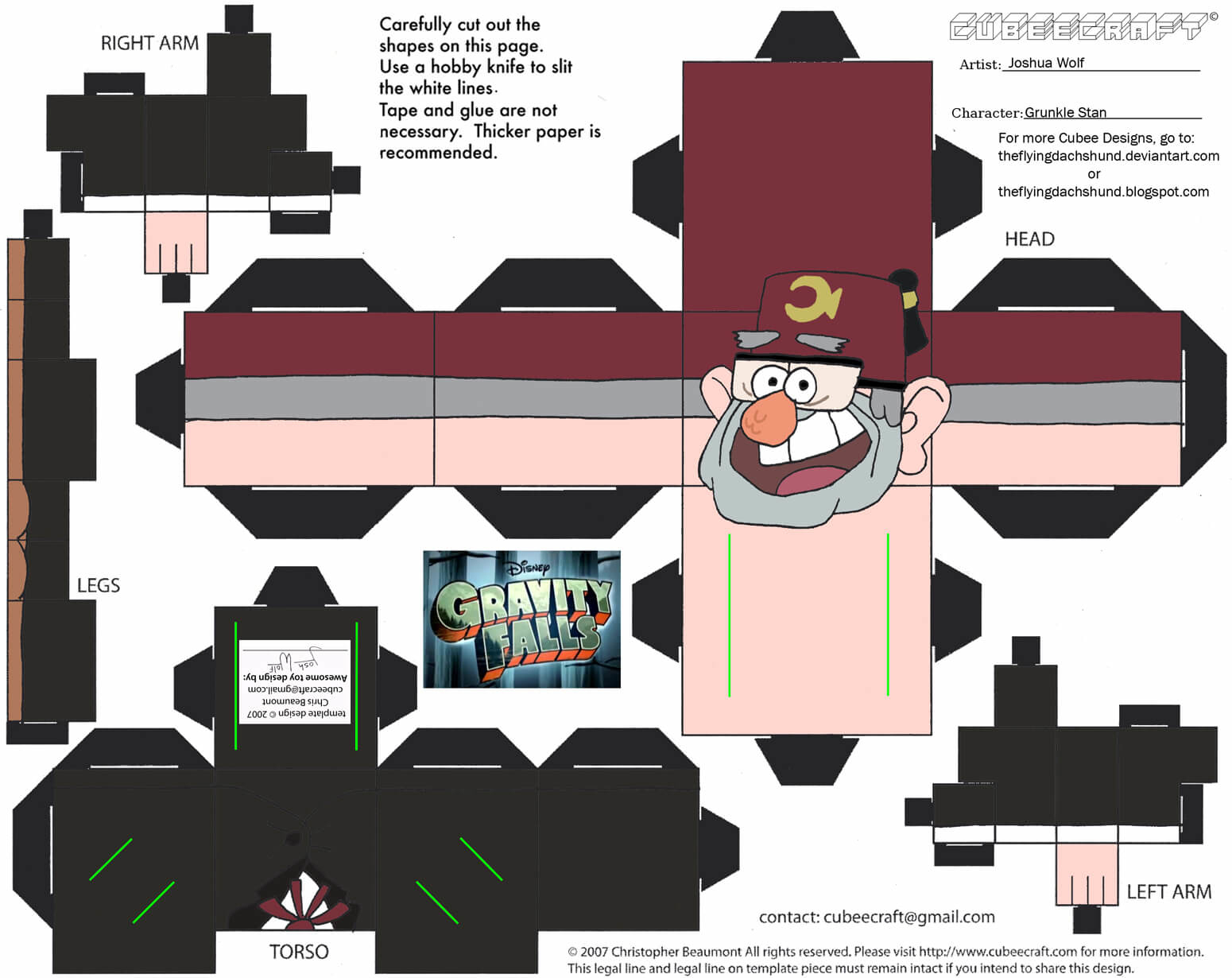 Grunkle Stan Paper Toy | Free Printable Papercraft Templates - Printable Paper Crafts Free
