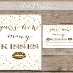 Guess How Many Kisses Bridal Shower Printable Gold Bridal | Etsy   How Many Kisses Game Free Printable