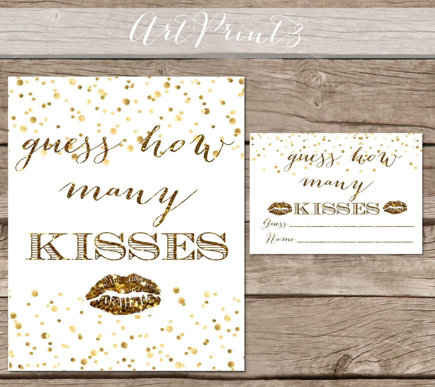 Guess How Many Kisses Bridal Shower Printable Gold Bridal | Etsy - How Many Kisses Game Free Printable