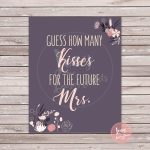 Guess How Many Kisses For The Future Mrs. Printable Sign | Etsy   How Many Kisses Game Free Printable
