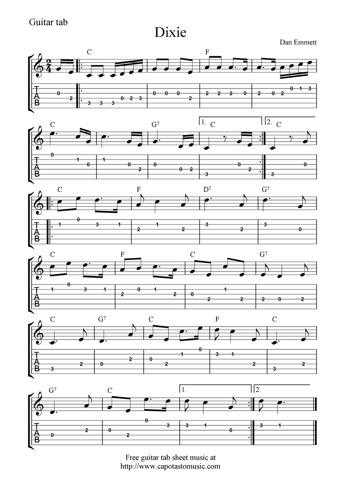 Guitar Music Sheets For Beginners | Free Guitar Tab Sheet Music - Free Printable Guitar Music