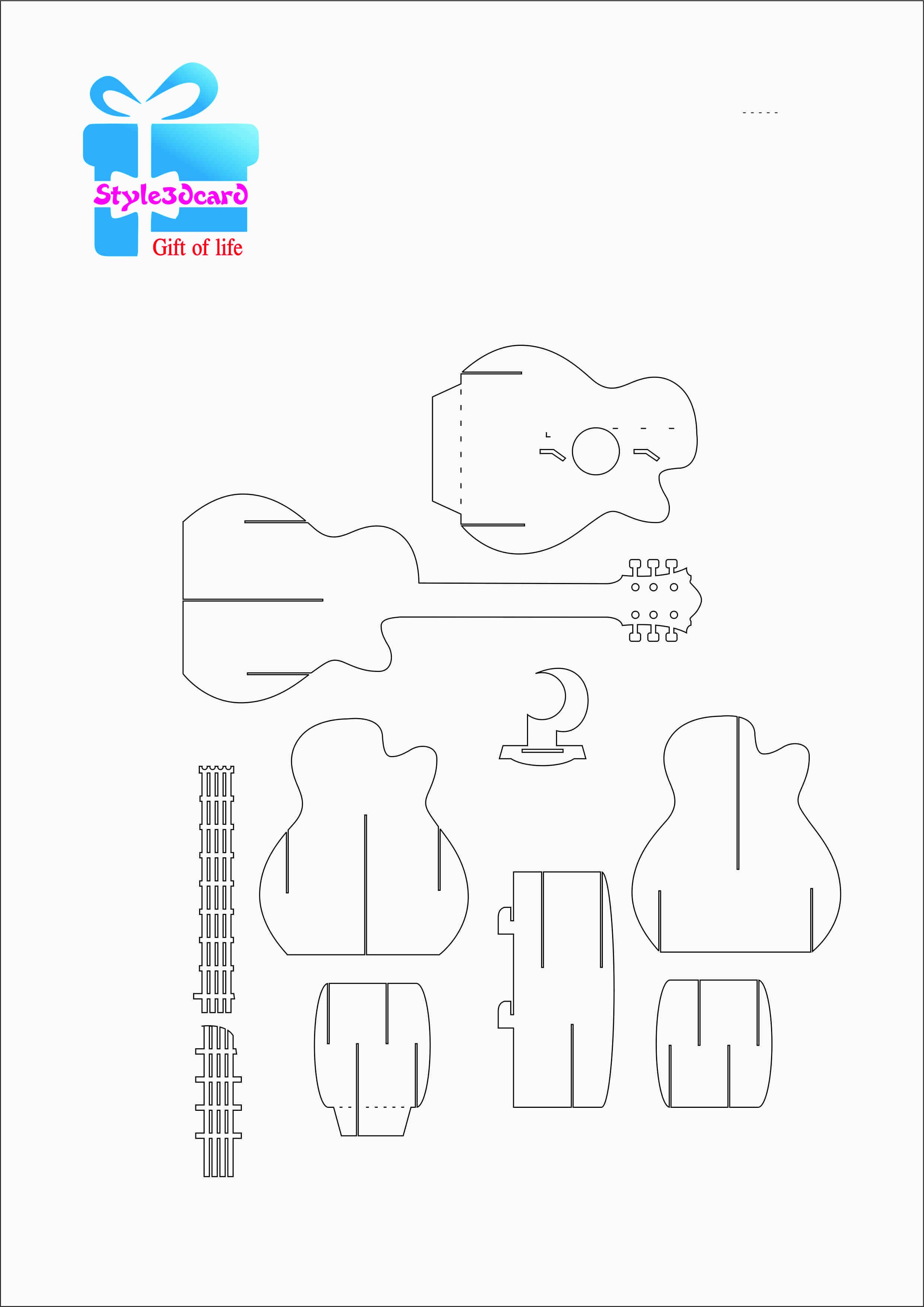 Guitar Pattern 3D Pop-Up Card 1 | Templets | Pinterest | Pop Up Card - Free Printable Kirigami Pop Up Card Patterns
