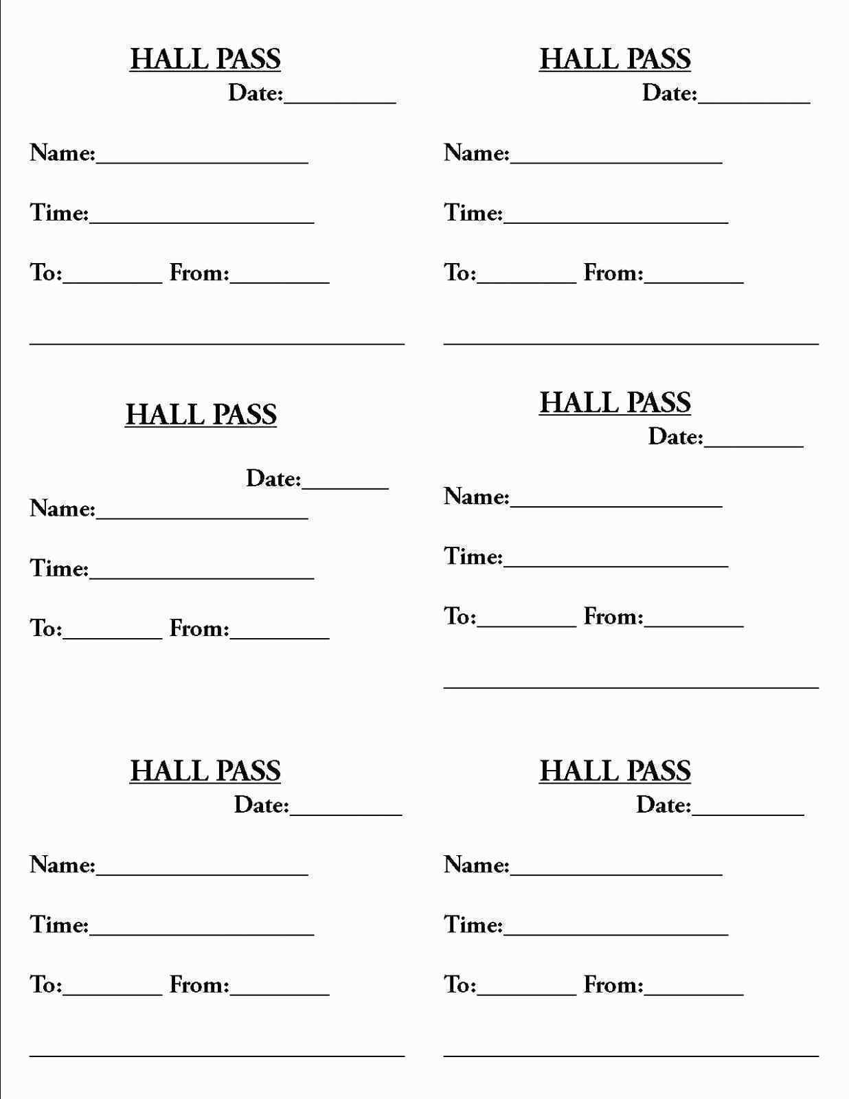 Hall Pass Template Unique New Hall Pass Template - Resume Templates 2018 - Free Printable Hall Pass Template