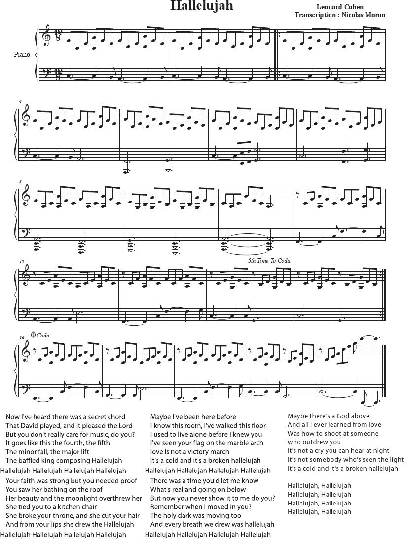 Hallelujah - Cohen - Rufus Wainwright - Shrek Best - Sheet Music - Free Printable Piano Sheet Music For Hallelujah By Leonard Cohen
