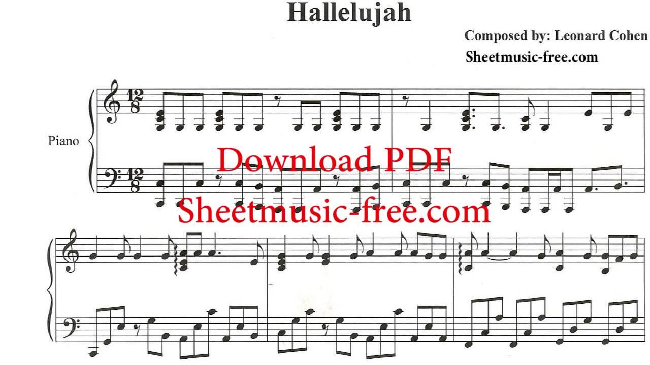 Hallelujah Piano Sheet Music Leonard Cohen - Youtube - Hallelujah Piano Sheet Music Free Printable