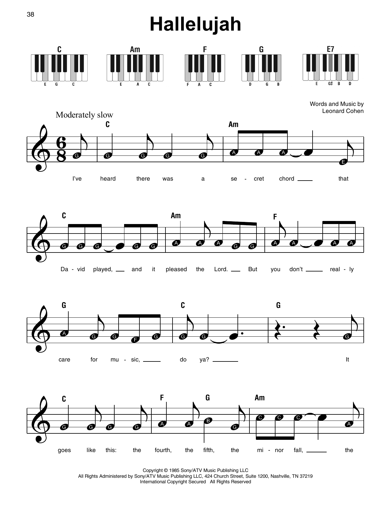 Hallelujah Sheet Music | Leonard Cohen | Super Easy Piano - Free Printable Piano Sheet Music For Hallelujah By Leonard Cohen