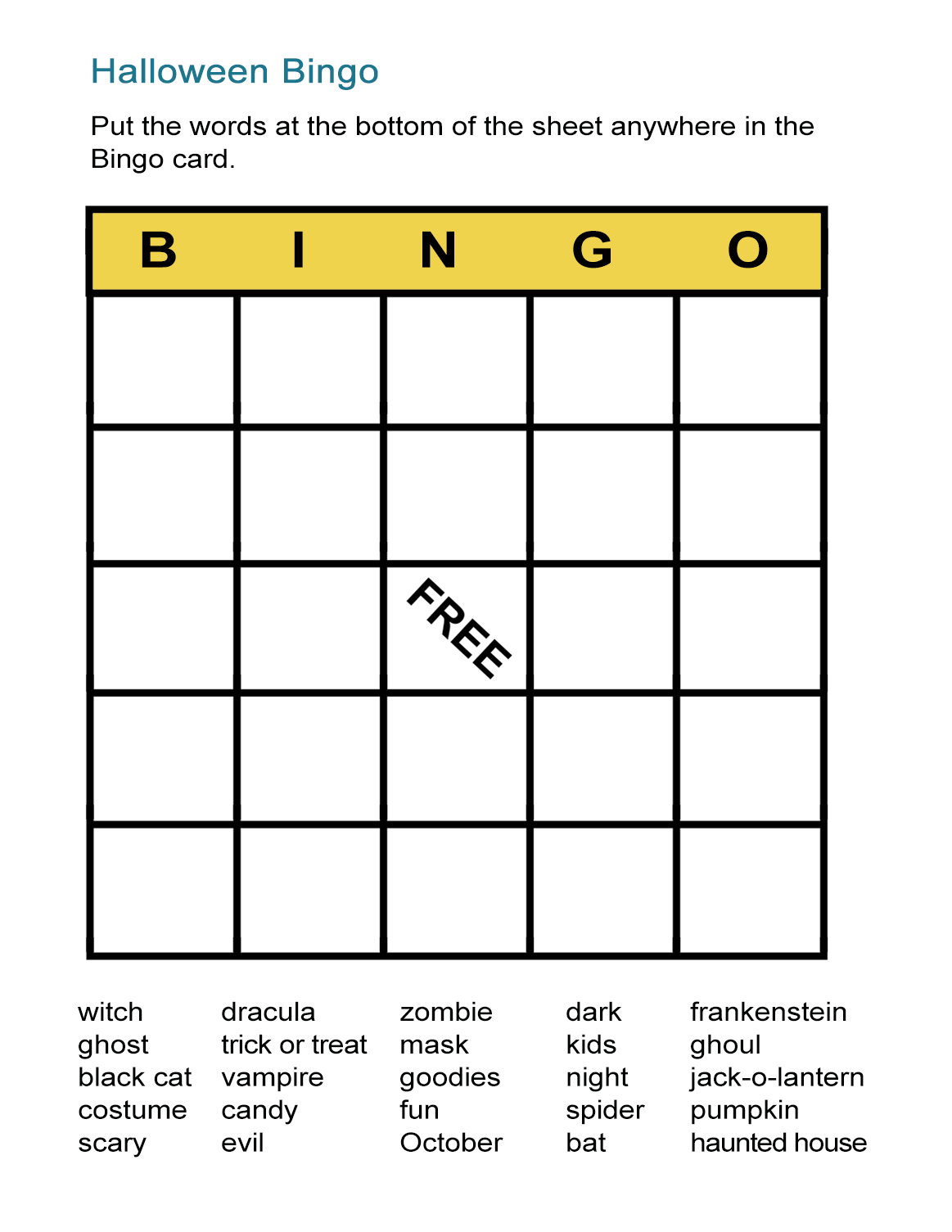 Halloween Bingo Cards: Printable Bingo Games For Class - All Esl - Free Printable Bingo Cards
