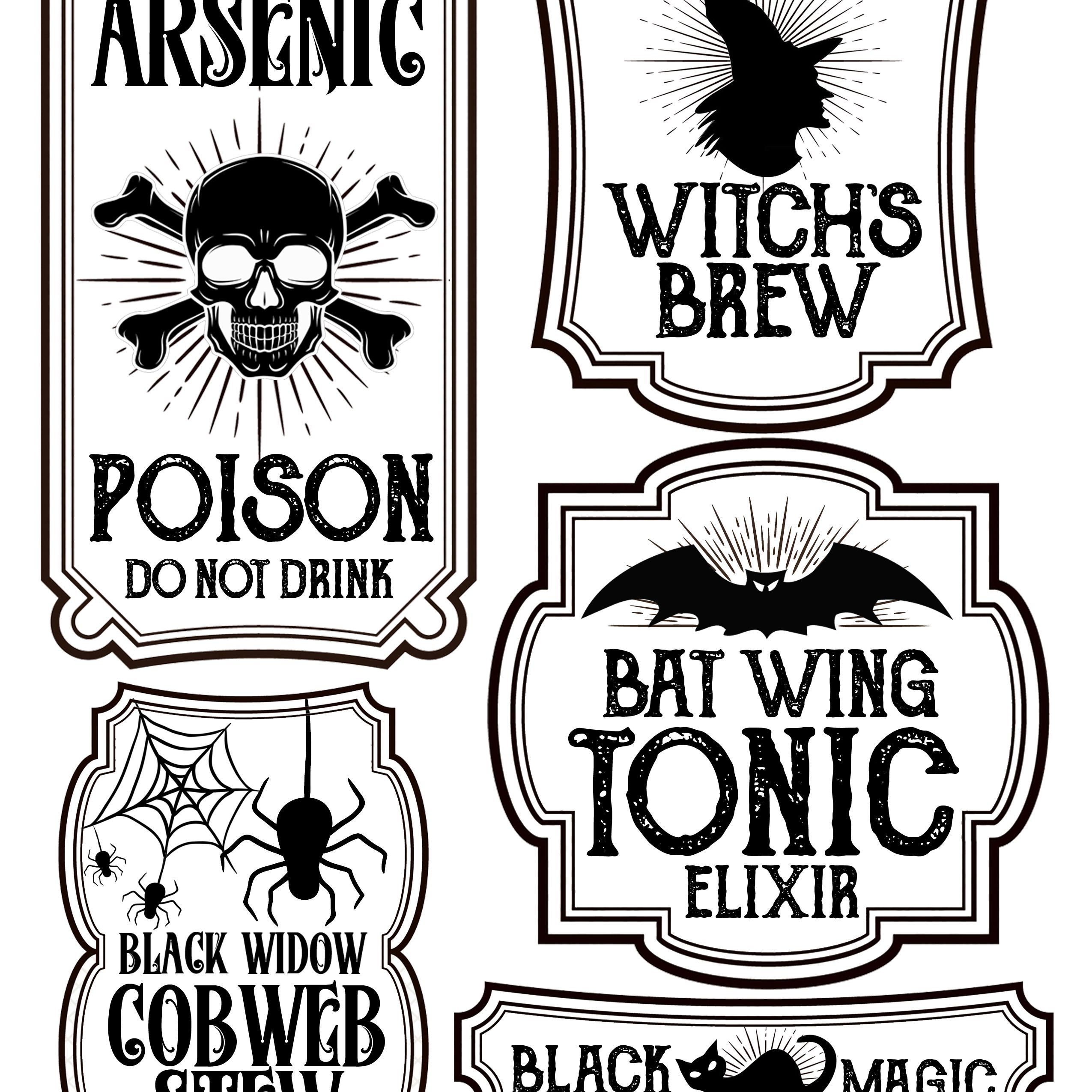 Halloween Bottle Labels - Free Printables - Potions Labels | Art - Free Printable Potion Labels