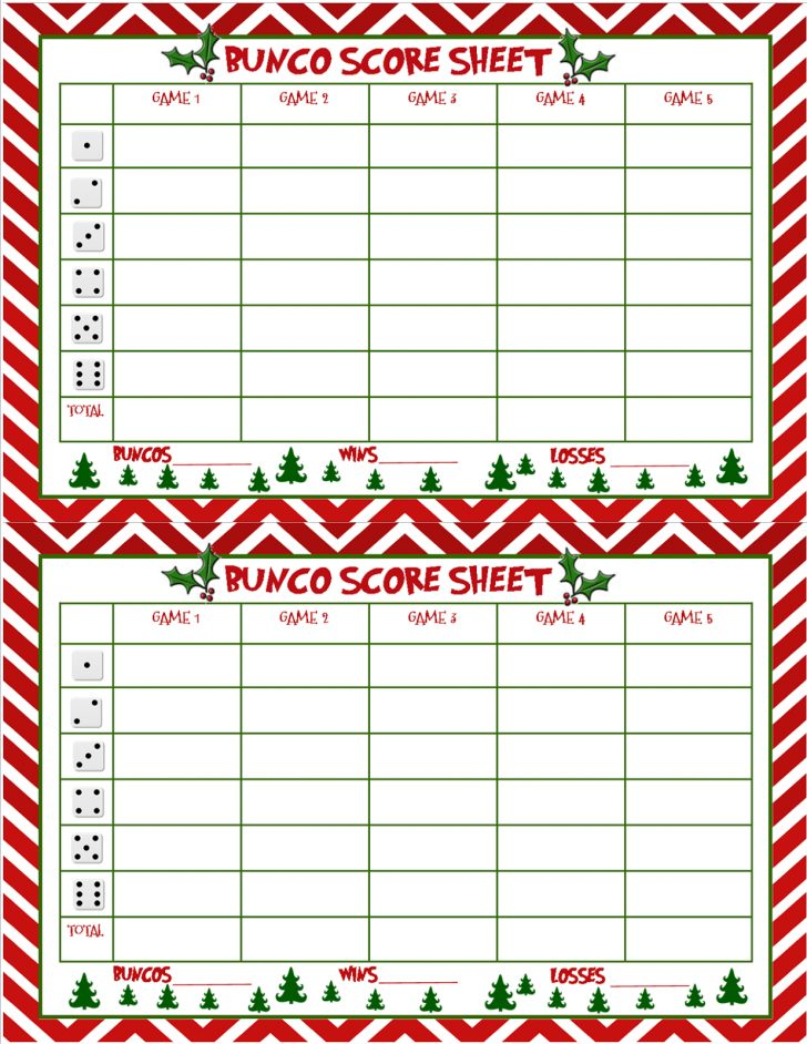 Free Printable Halloween Bunco Score Sheets