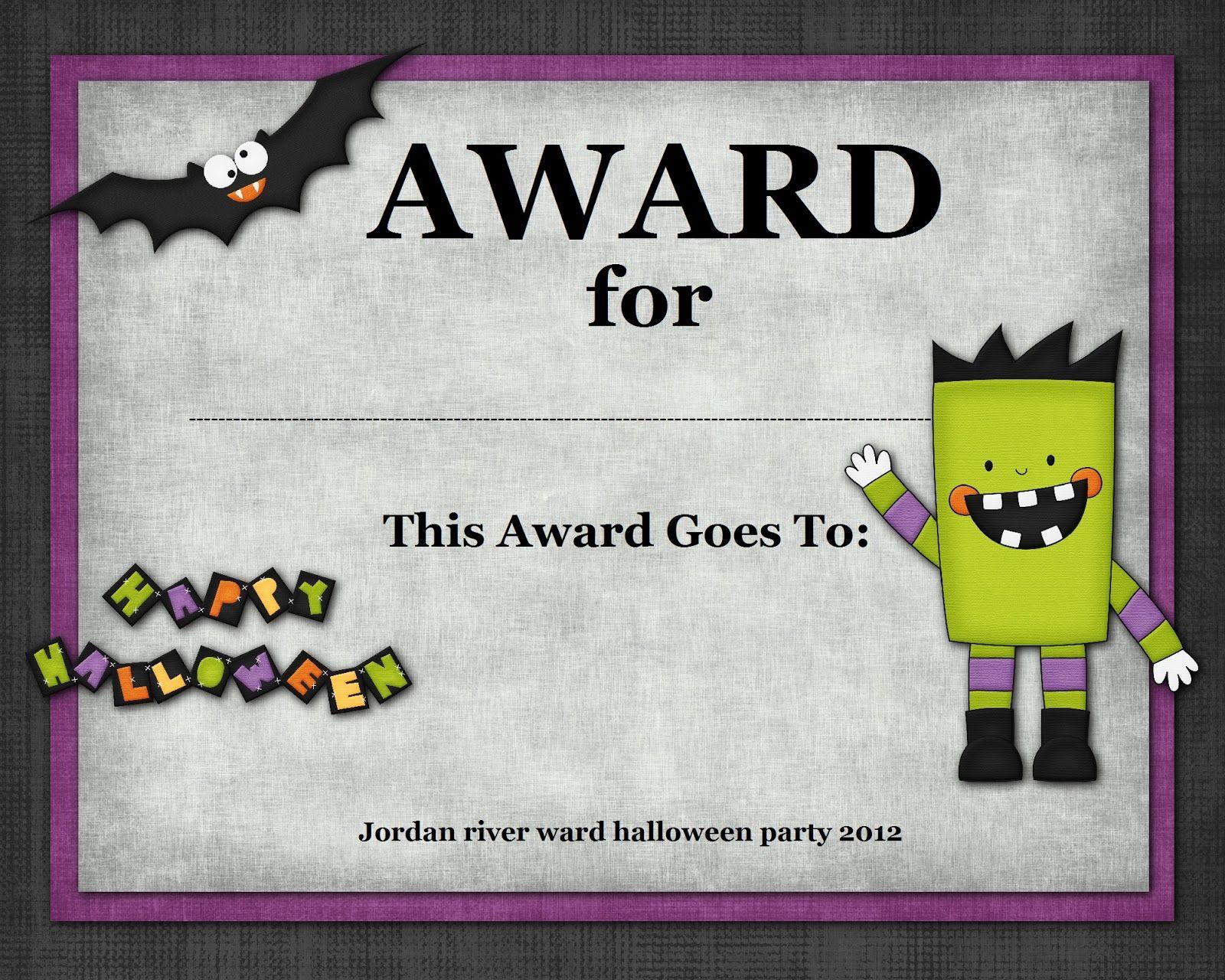 Halloween Costume Awards - Hashtag Bg - Best Costume Certificate Printable Free