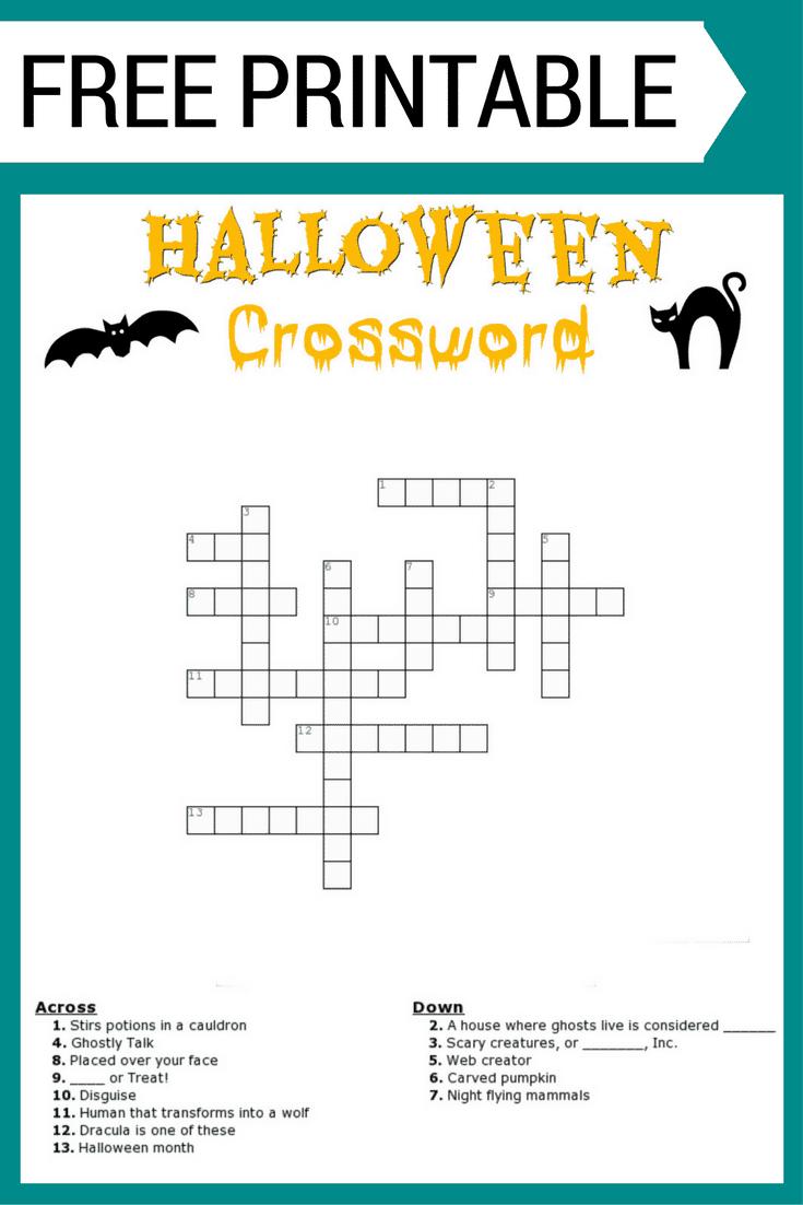 Halloween Crossword Puzzle Free Printable - Free Printable Crossword Puzzles For Kids