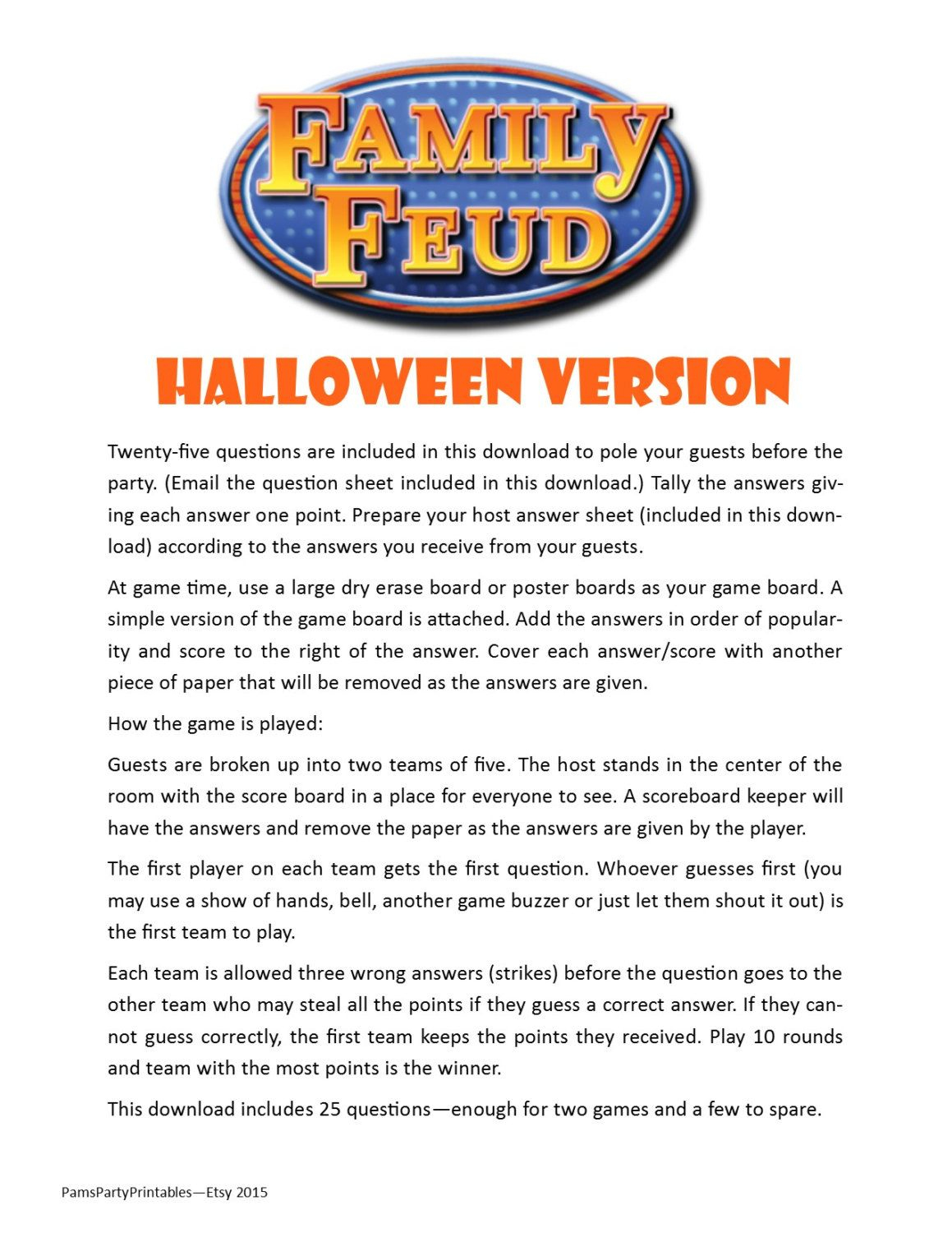 Halloween Friendly Feud 20 Questions And Answers - Printable Game - Free Printable Halloween Play Scripts