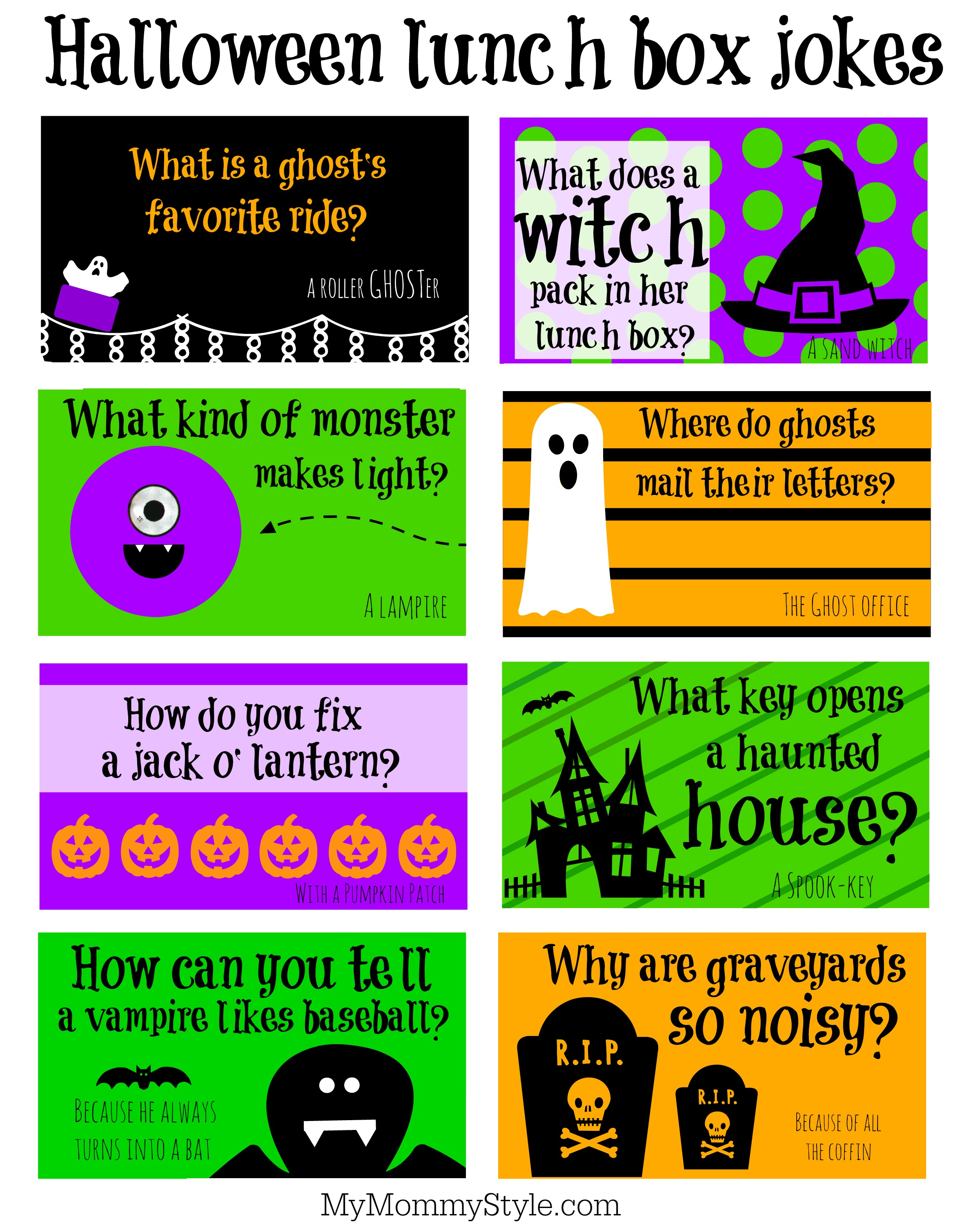 Halloween Lunchbox Jokes - My Mommy Style - Free Printable Jokes For Adults