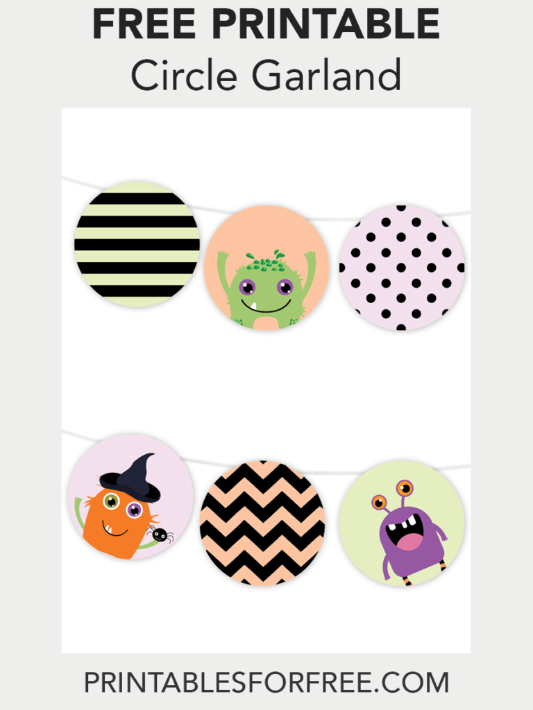 Halloween Monster Printable Garland   Free Party Printables - Free Printable Halloween Place Cards