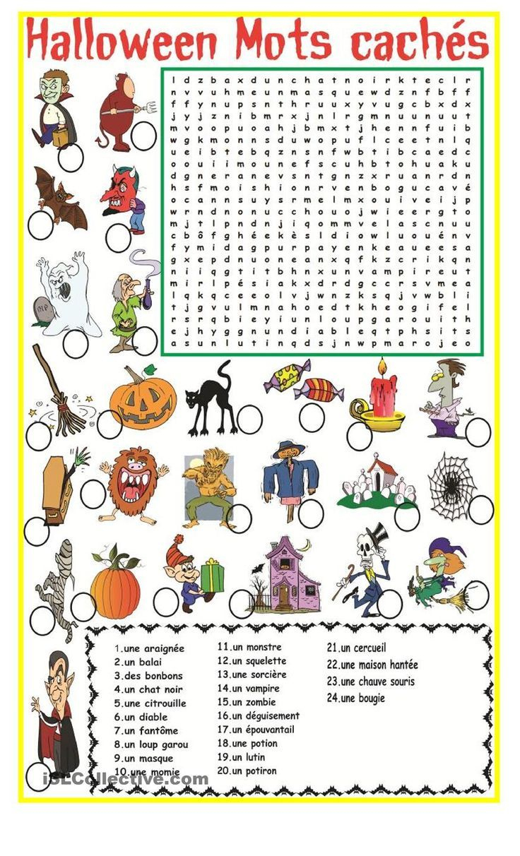 Halloween Mots Cachés   Fle   Halloween Worksheets, Halloween - Free Printable French Halloween Worksheets