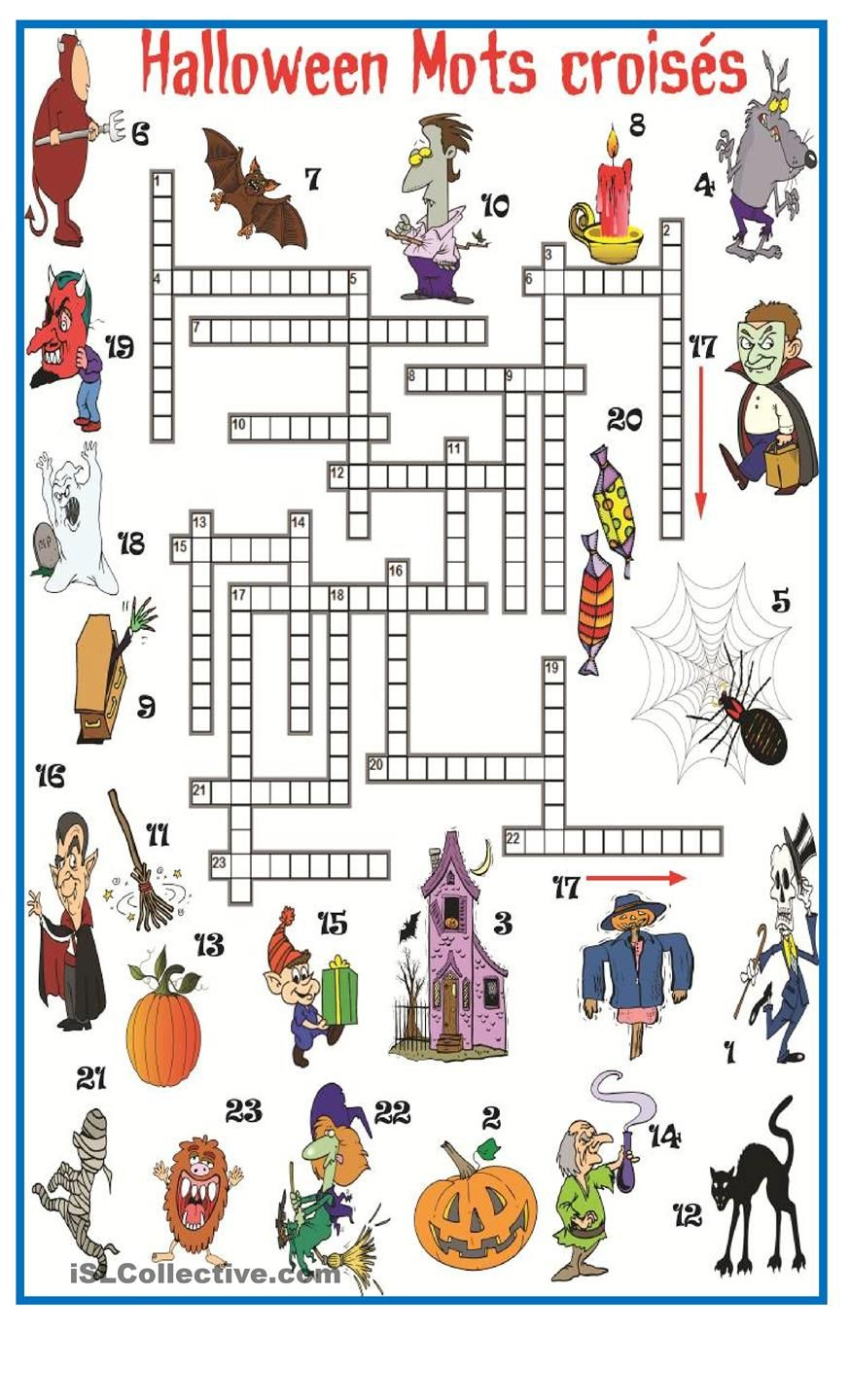 Halloween Mots Croisés   French At Home   Halloween, Halloween - Free Printable French Halloween Worksheets