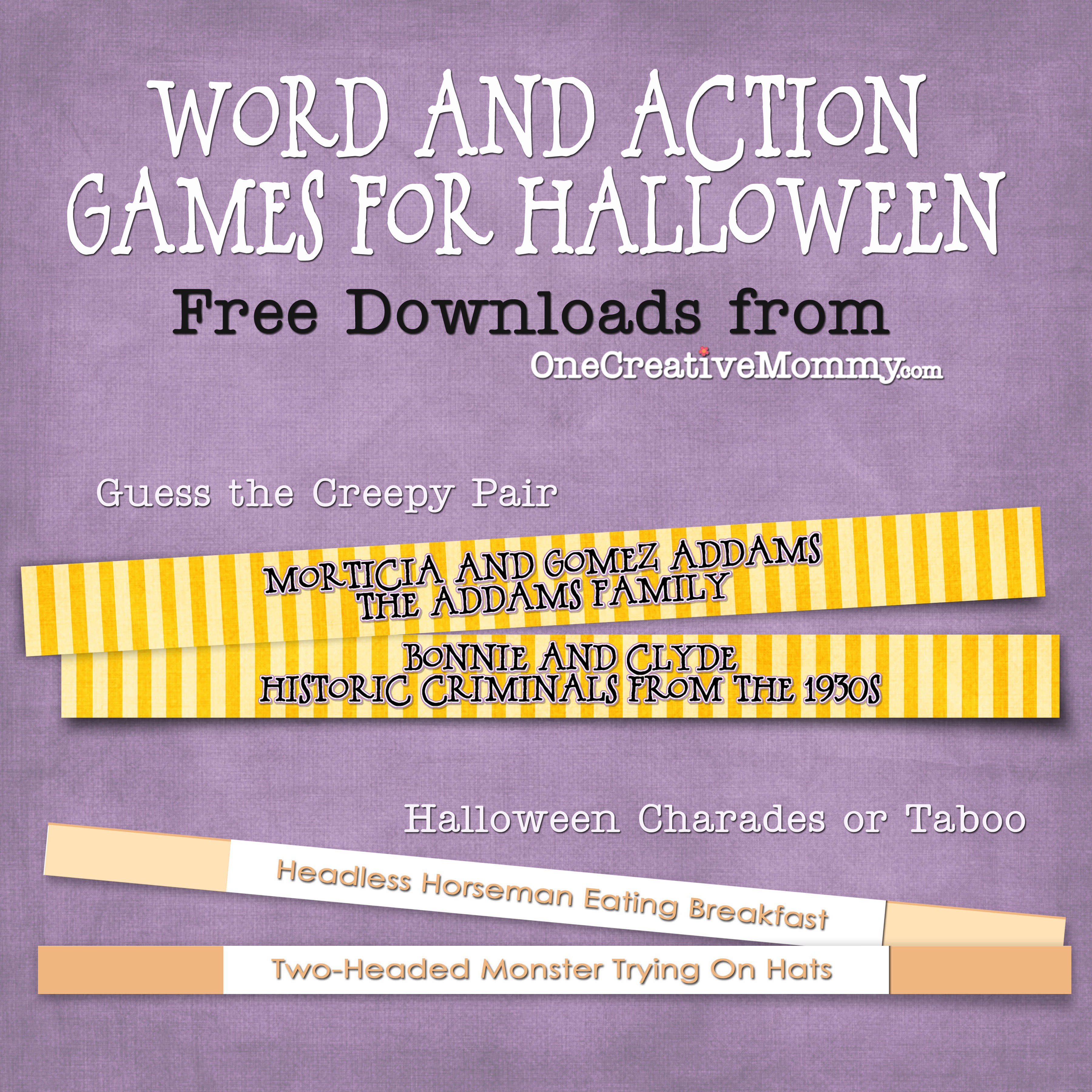 Halloween Party Games For Kids And Grownups, Too! - Onecreativemommy - Free Printable Halloween Party Games