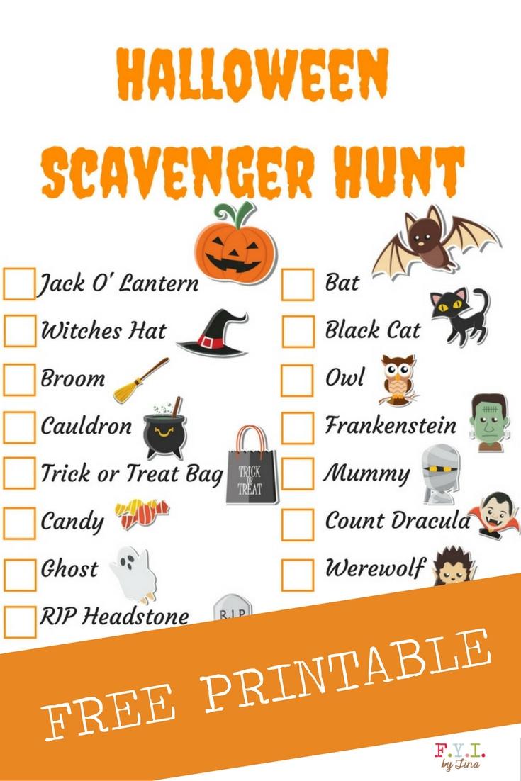 Halloween Scavenger Hunt - Free Printable • Fyitina - Free Printable Halloween Homework Pass