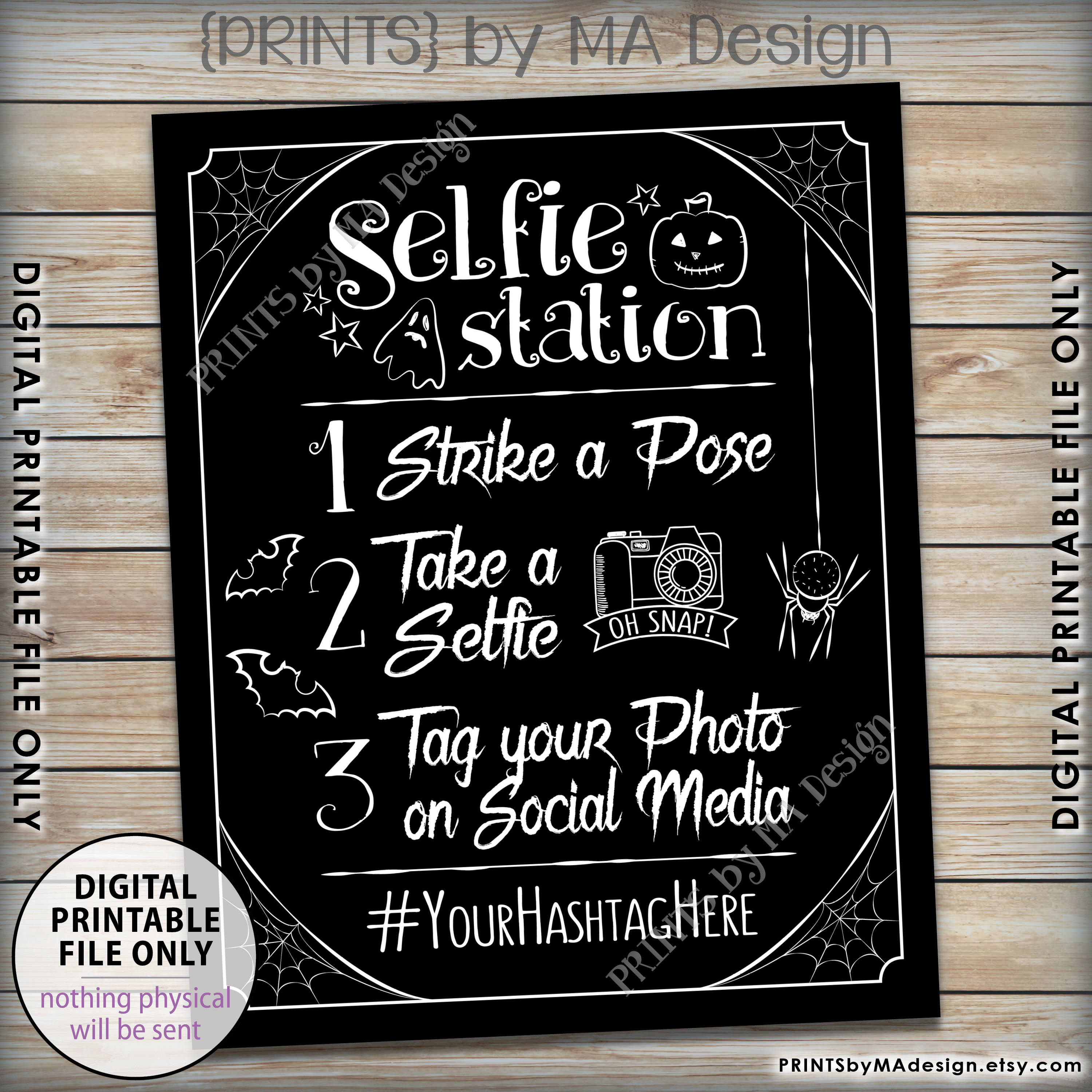 Halloween Selfie Station Sign, Spooky Hashtag Sign, Tag Your Photo - Selfie Station Free Printable