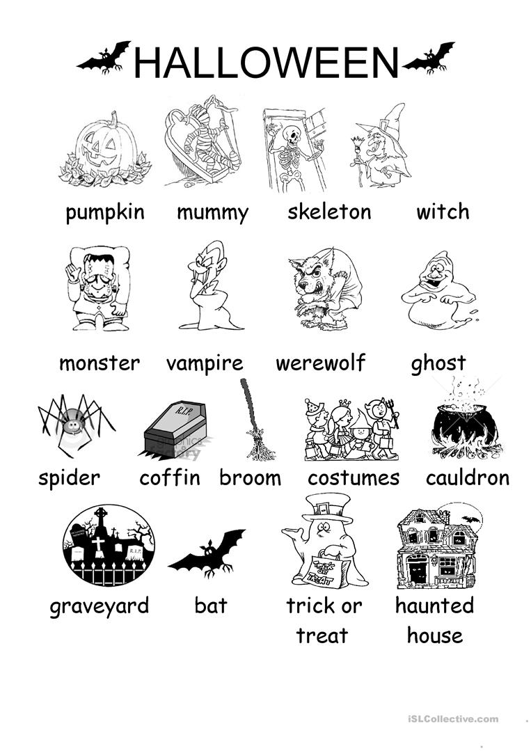 Halloween Vocabulary Printables   Halloween Arts - Free Printable French Halloween Worksheets