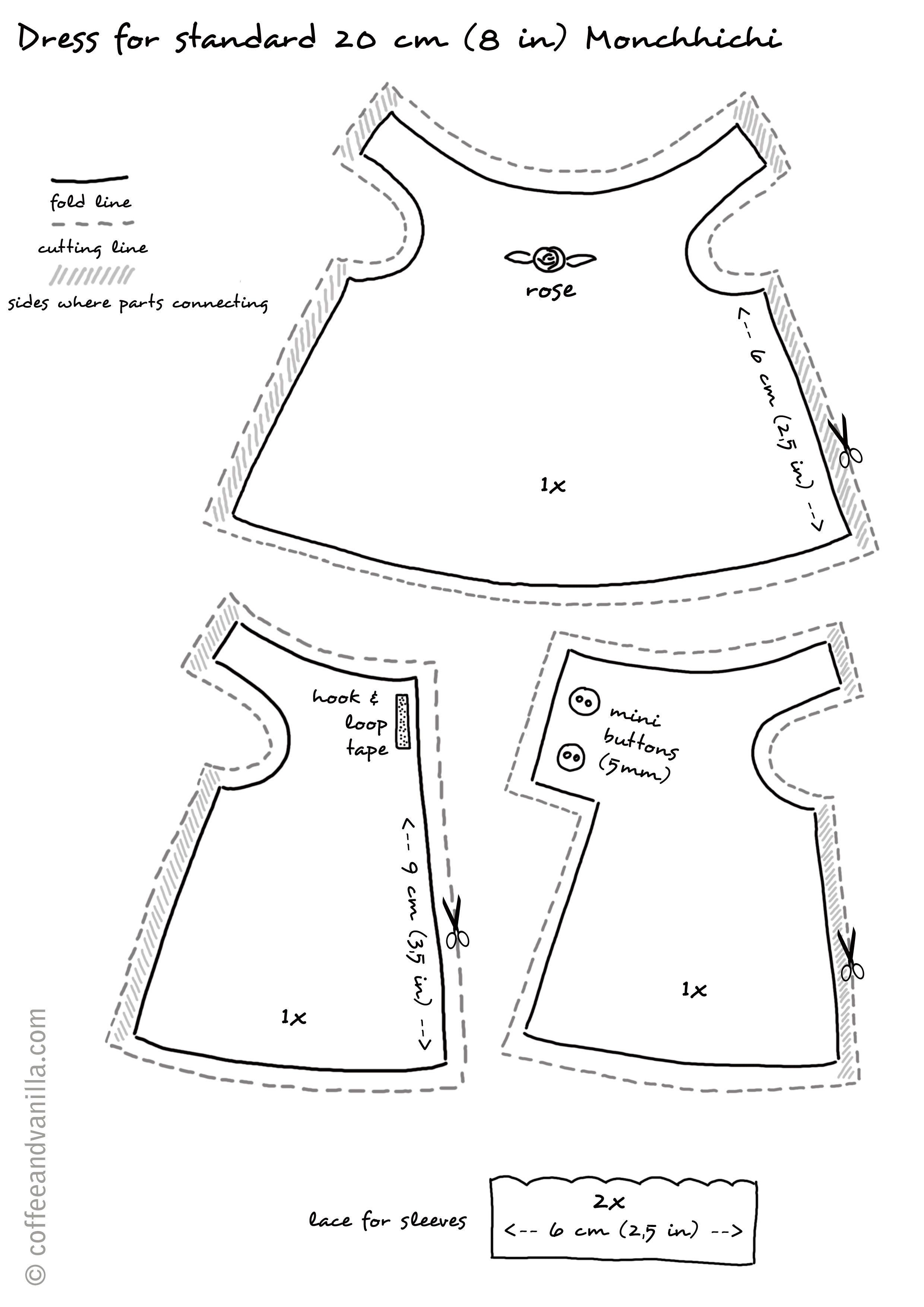 Handmade Dress For Monchhichi | Doll's Dress & Accessories - Barbie Dress Patterns Free Printable Pdf