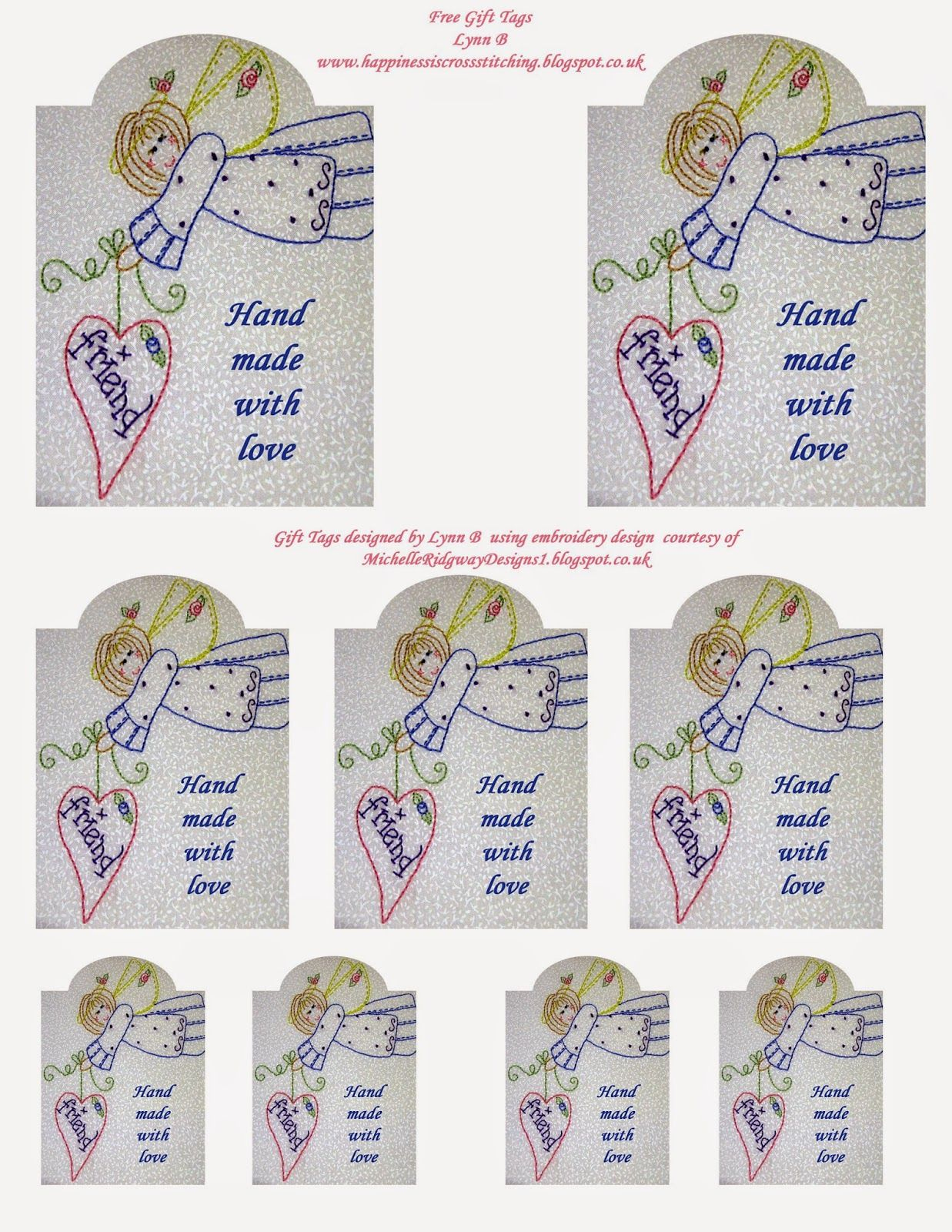 Happiness Is Cross Stitching : Freebie Friday - Angel Gift Tags - Free Printable Angel Gift Tags