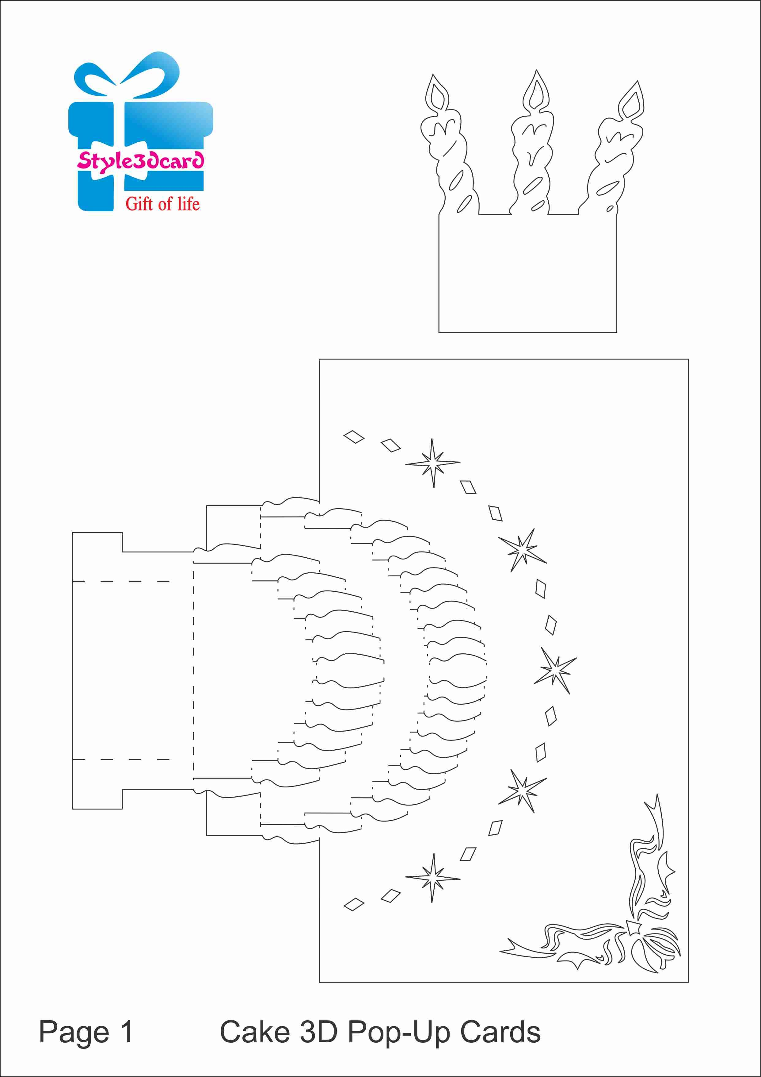 Happy Birthday-Cake-3D-Pop-Up-Greeting-Card/ Kirigami Pattern 1 - Free Printable Kirigami Pop Up Card Patterns