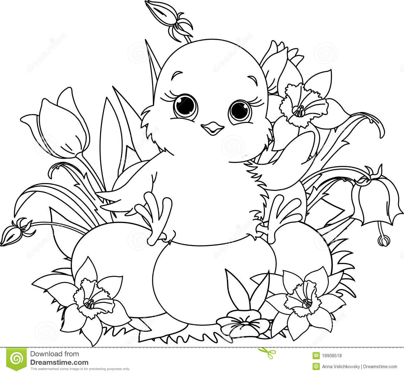 Happy Easter Chick Coloring Page Stock Vector Illustration Of Best - Free Printable Easter Baby Chick Coloring Pages