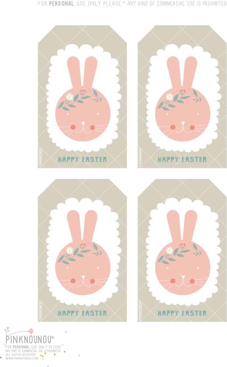 Happy Easter Free Printable Bunny Tags - Free Printable Easter Tags