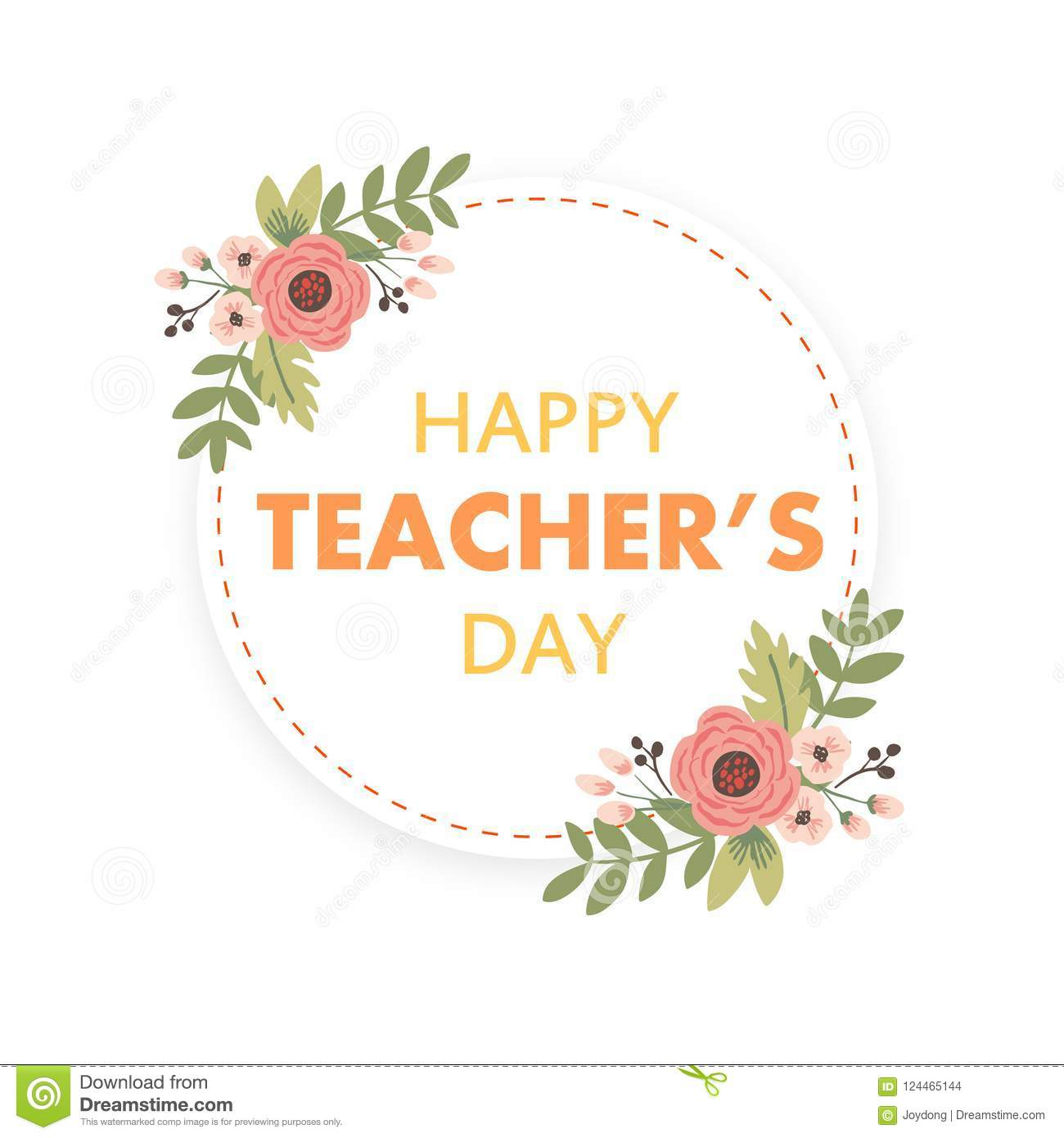Happy Teacher`s Day Layout Design With Flower Card Stock Vector - Free Printable Teacher's Day Greeting Cards