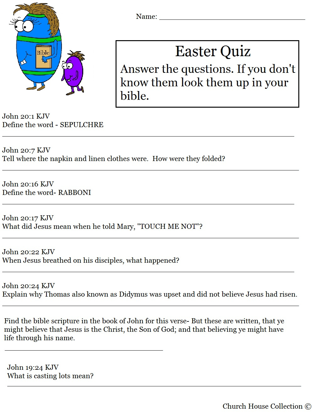 Hard Easter Quiz On Resurrection Of Jesus - Free Printable Bible Trivia For Adults