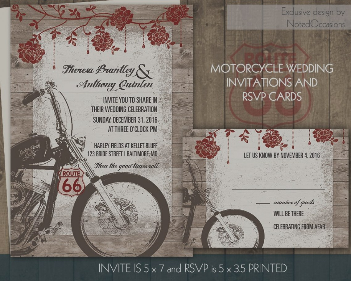 Harley Davidson Wedding Invitations Motorcycle Biker Bride Etsy - Motorcycle Invitations Free Printable